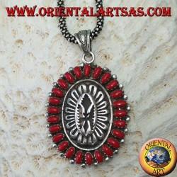 Ciondolo in argento, a scudo con coralli stile nativi ( Indiani d'America )