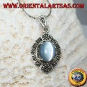 Silver pendant with oval cimòfane (gray cat's eye) and marcasites