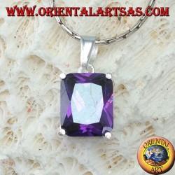 Ciondolo in argento con Ametista viola cubic zirconia rettangolare