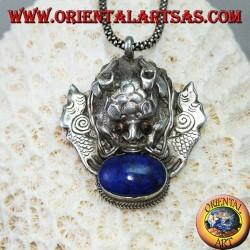 Pendentif en argent dragon népalais avec lapis-lazuli ovale naturel