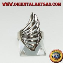 Silver ring in fan shape