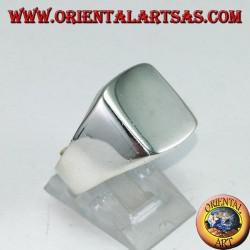 Anello in argento a scudo liscio rettangolare, incisione su richiesta