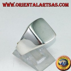 Silver ring with a rectangular smooth shield, engraving on request