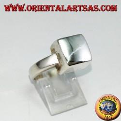 Anello in argento  a cubo liscio