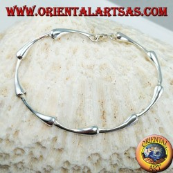 Semi-rigid silver bracelet with joint