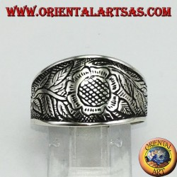 Silver ring inlay floral with sunflower