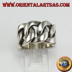 Anello a catena grande in argento