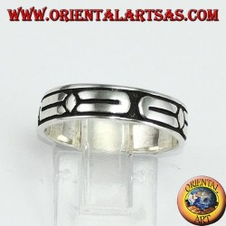 Relief ring in silver with bas-relief