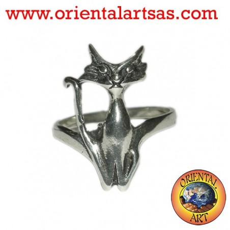 Anello in argento il gatto