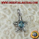 Ciondolo a stella in argento con Topazio azzurro ovale