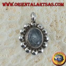 Ciondolo in argento 925 con labradorite grigia ovale