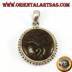 Silver pendant amulet Buddha eye carved in yack bone
