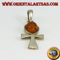 Ankh silver pendant (key of love) with amber drop