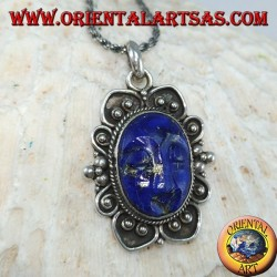 Silver pendant with cameo natural oval lapis lazuli (large)