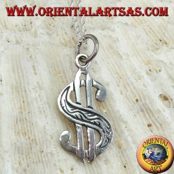 Silver pendant the dollar symbol