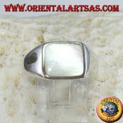 Anello in argento semplice con madreperla rettangolare 8*10