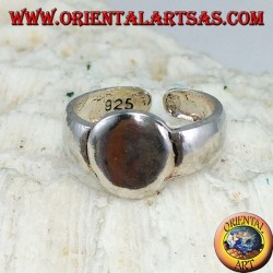 Silver ring for feet or phalanxes with a smooth oval plate