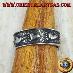 Silver ring for feet or phalanxes with chiseled feet