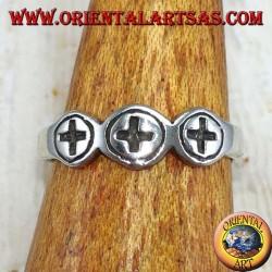Anello in argento per piedi o falange con tre crocette