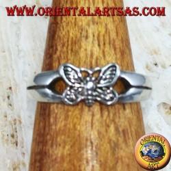 Серебряное кольцо для ног или фаланги с бабочкой