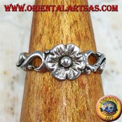 Anello in argento per piedi o falange floreale con fiore