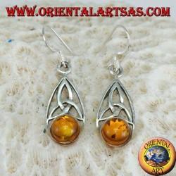 Boucles d'oreilles en argent avec noeud tyrone et ambre