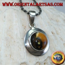 Silver pendant with natural hemispherical amber