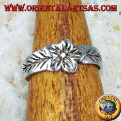 Silver ring for feet or for phalanxes with flower