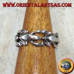 Серебряное кольцо для ног или фаланги с лягушками в ряд