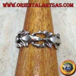 Silver ring for feet or for phalanxes with frogs in a row