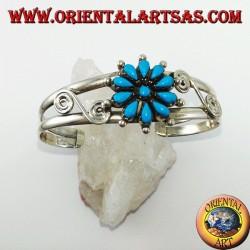 Starre Silberarmband mit türkisem Gänseblümchen