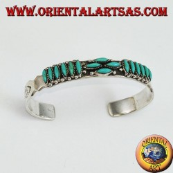 Bracelet en argent avec navette de style amérindien turquoise