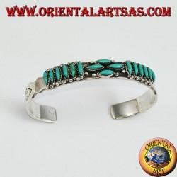 Серебряный браслет с бирюзой из индейского стиля