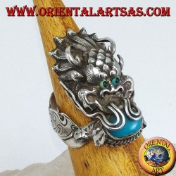 Silver ring Dragon with turquoise in the mouth