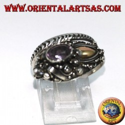 Ring in cobra silver with gold plate and amethyst