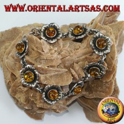 Bracciali in argento di rose con ambra