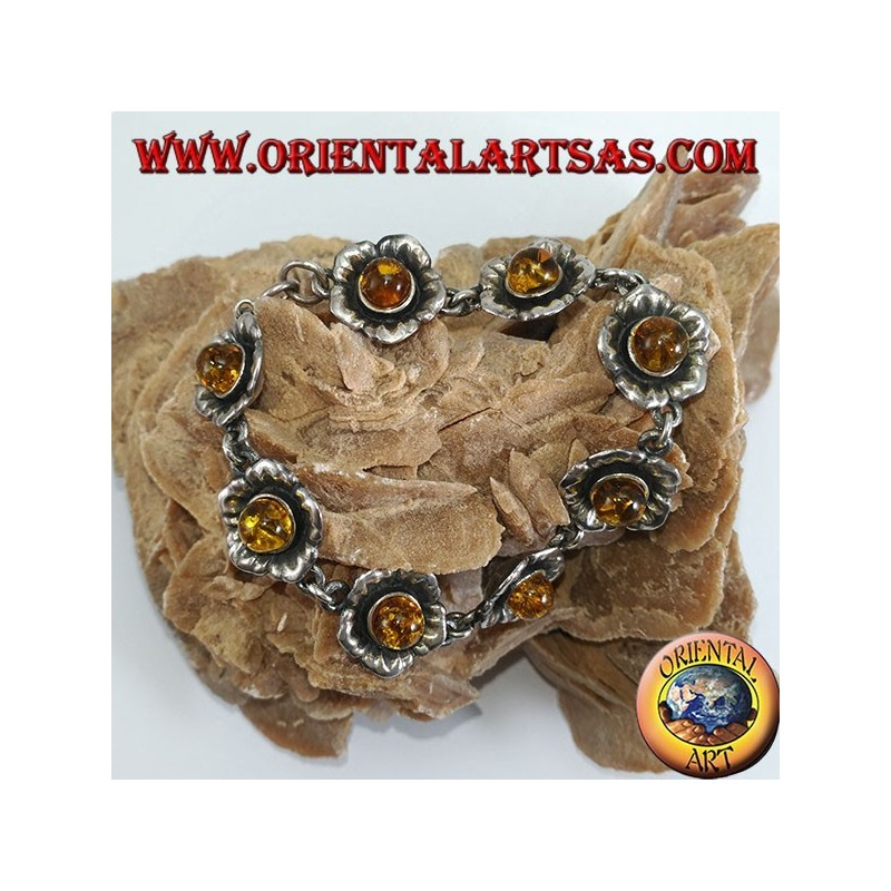 Silver bracelets of roses, with amber