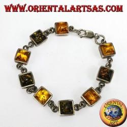 Серебряные браслеты с переменным зеленым и желтым квадратным янтарем