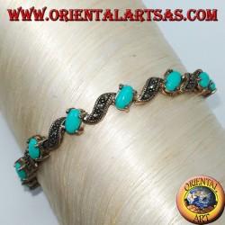 Pulseras de plata con marcasita oval y turquesa