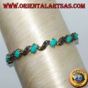 Silver bracelets with oval marcasite and turquoise