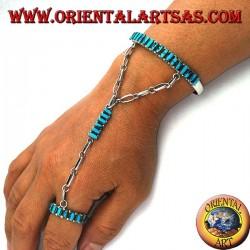 Bracciale baciamano in argento rigido con turchesi a navetta