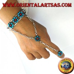 Hand kisses bracelet in sterling silver with turquoise and coral, flower pattern