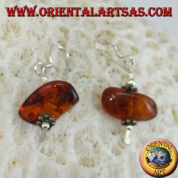 Silver earring with a piece of amber