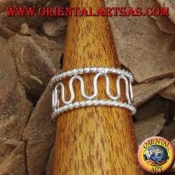 Серебряное кольцо с пальцами или фалангой, проволока с волнами