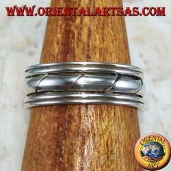 Серебряное кольцо для ног или фаланг, с ручными гравюрами