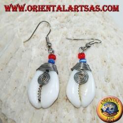 Boucles d'oreilles coquillage Cauri avec métal analergique