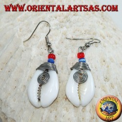 Cauri cowrie shell earrings with analergic metal