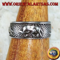 Silver ring for feet or for phalanxes with chiseled elephants
