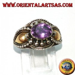 Silver ring with amethyst and gold plates