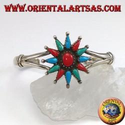 Bracelet rigide en argent, étoile à 12 branches avec corail et turquoise